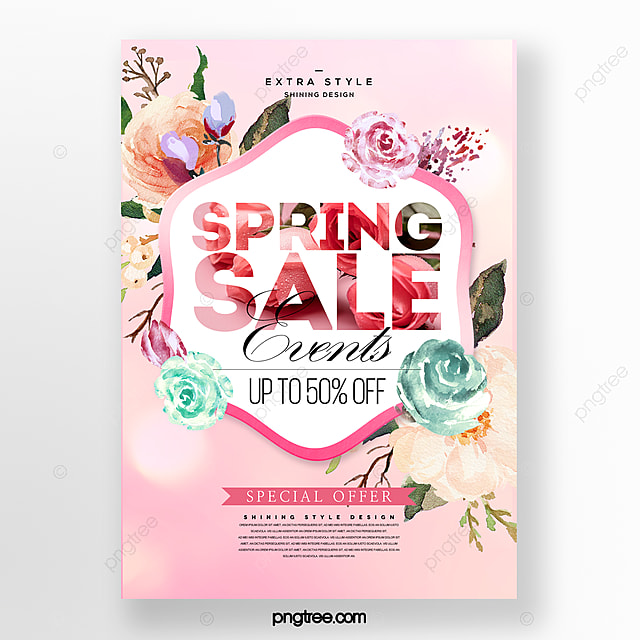 fashion beautiful minimalistic spring flower tufted commercial promotion poster
