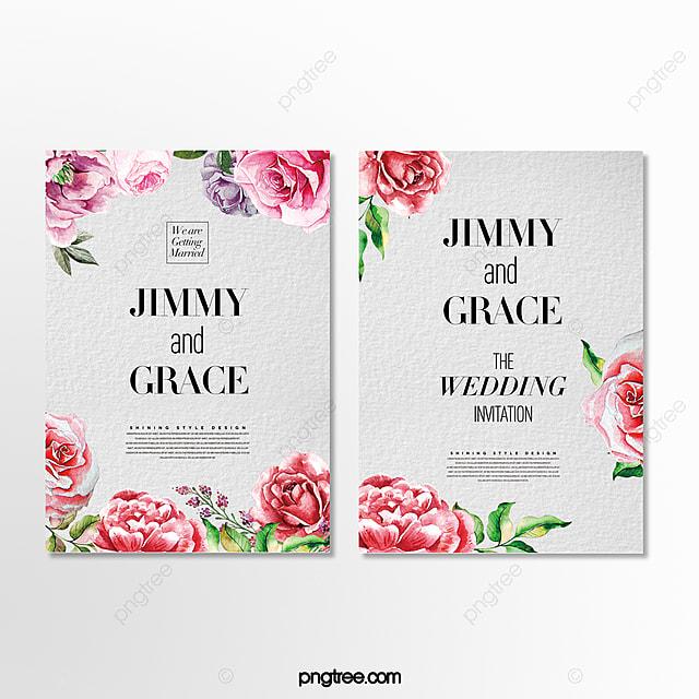 fashion cartoon hand drawn floral wedding invitation