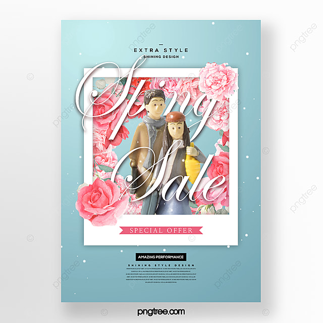 fresh and beautiful romantic spring flowers blooming promotion poster