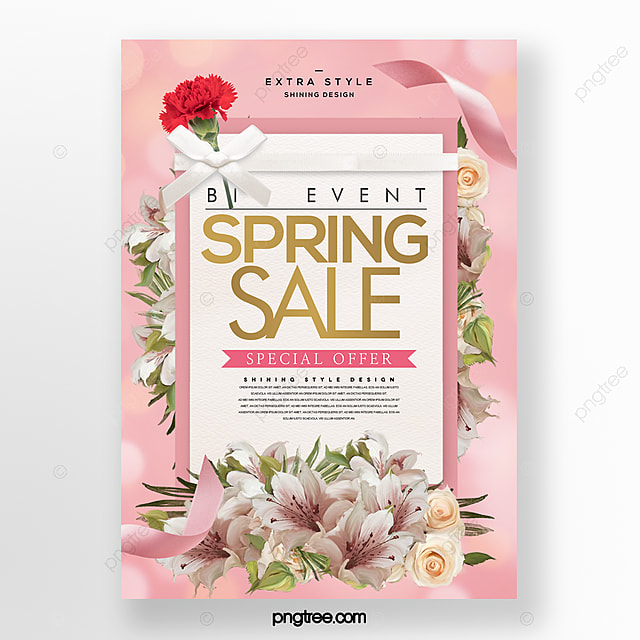 fresh and beautiful simple spring flower bouquet promotion discount poster