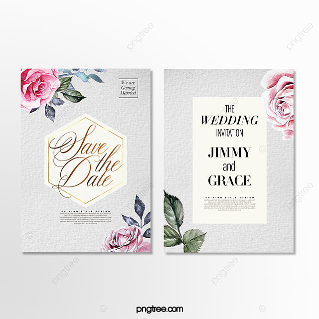 fresh and simple beautiful hand painted flower wedding invitation