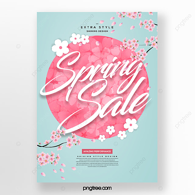 fresh and simple fashion spring flower bouquet promotion promotion discount poster