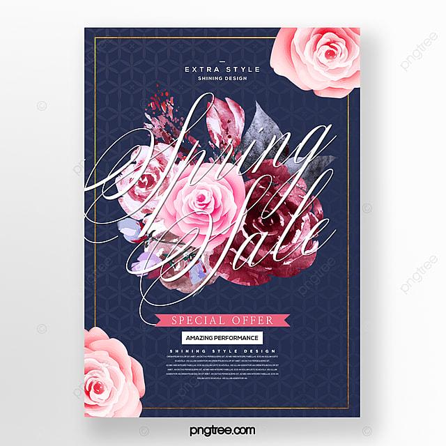 fresh fashion minimalistic spring flower bouquet promotion discount poster