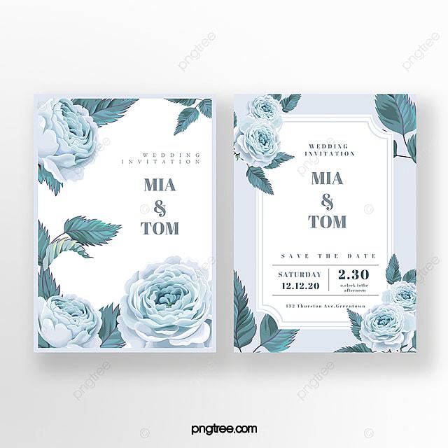 hand drawn blue flowers wedding invitation
