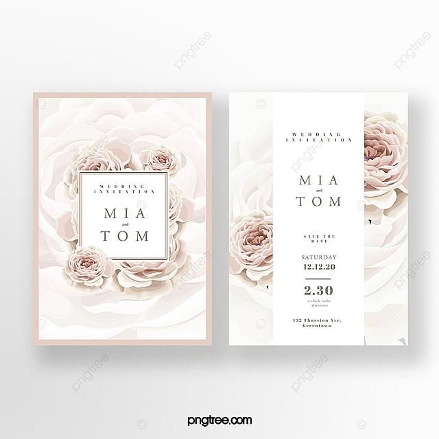pink big flower wedding invitation
