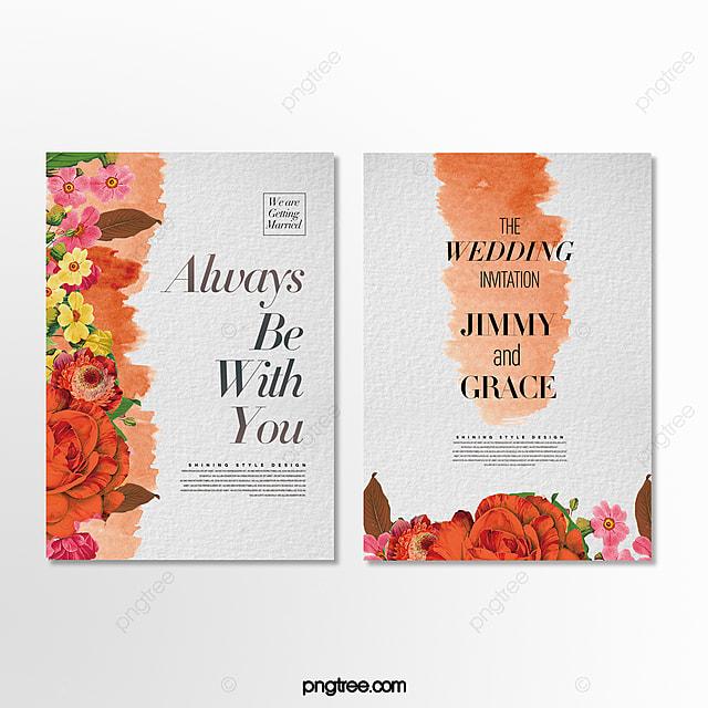 romantic beautiful hand drawn cartoon flower wedding invitation