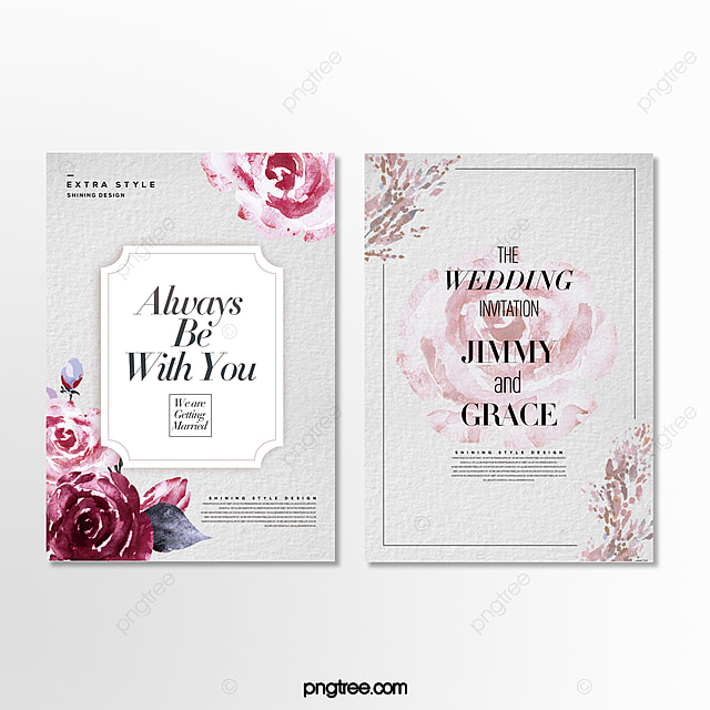 romantic beautiful minimalist hand drawn cartoon floral wedding invitation