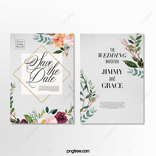 romantic fresh hand painted floral wedding theme invitation