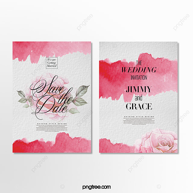 simple and beautiful ink effect flower theme invitation