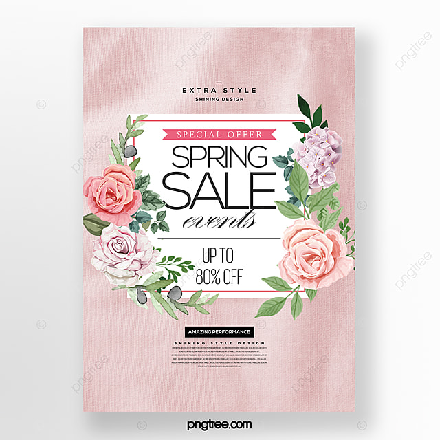simple and stylish cartoon spring flowers blooming promotion poster