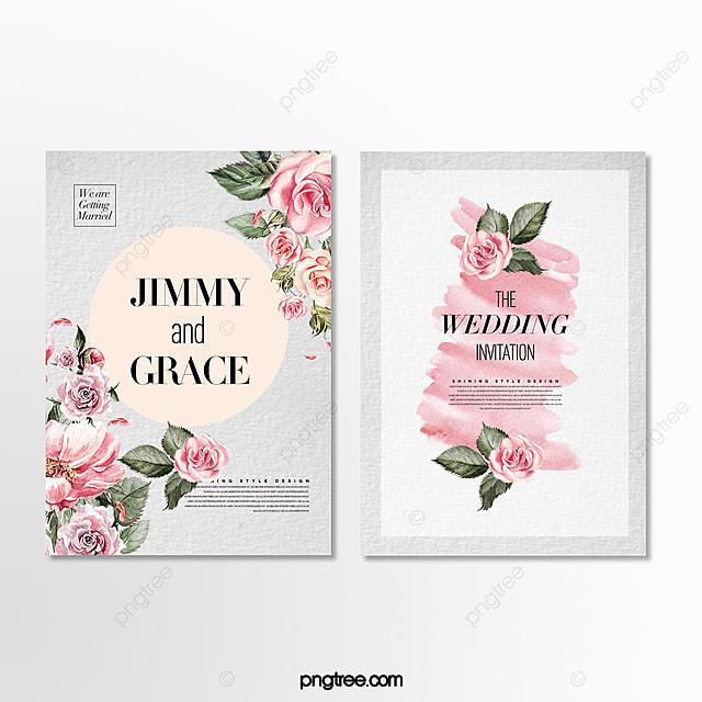 simple fashion beautiful romantic cartoon floral wedding invitation