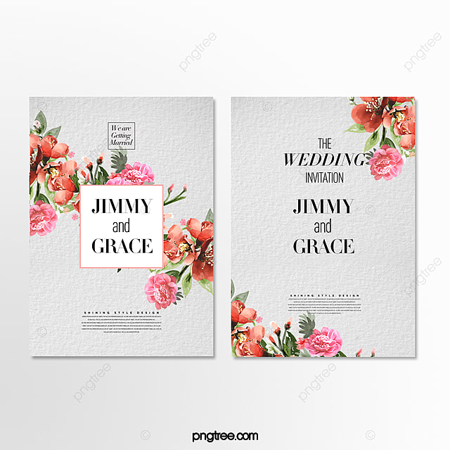 simple fashion cartoon hand drawn flowers wedding invitation