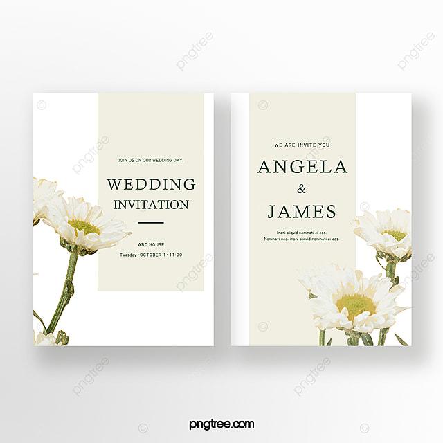 white elegant hand painted flowers wedding invitation