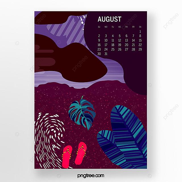 august 2020 calendar illustration