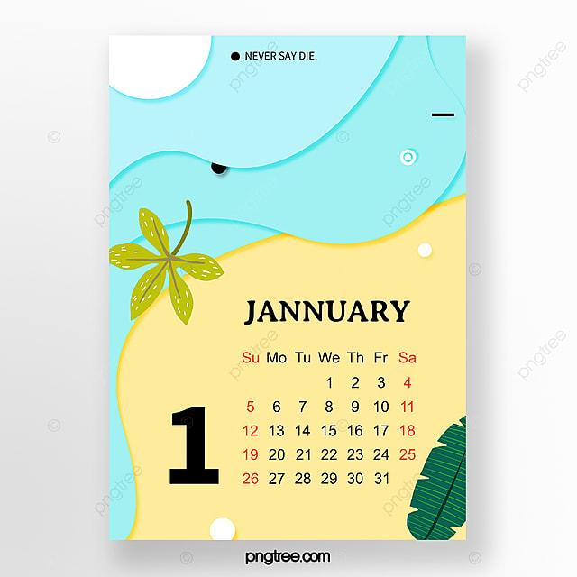 blue geometric paper cut style january 2020 monthly calendar