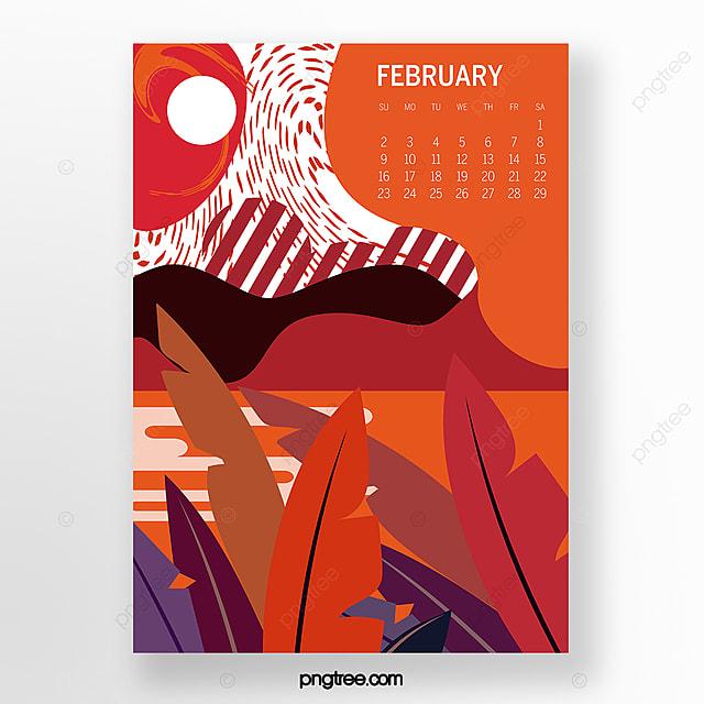 calendar illustration for february 2020