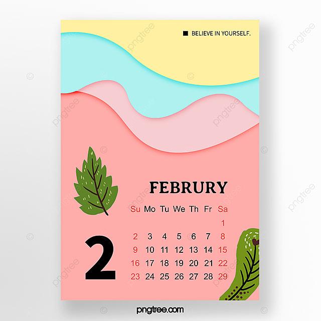 color paper cut style february 2020 calendar