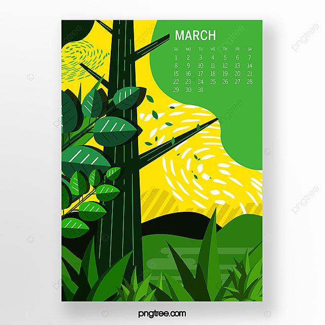 green march 2020 calendar illustration