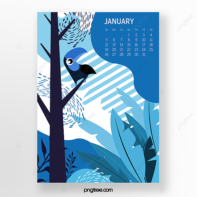 january 2020 calendar illustration