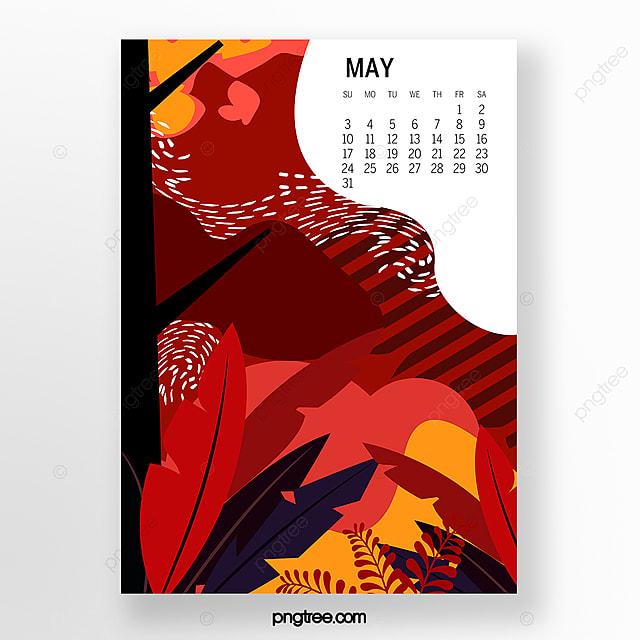 may 2020 calendar illustration