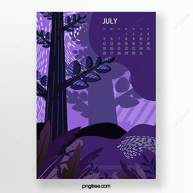 purple illustration of july 2020 calendar