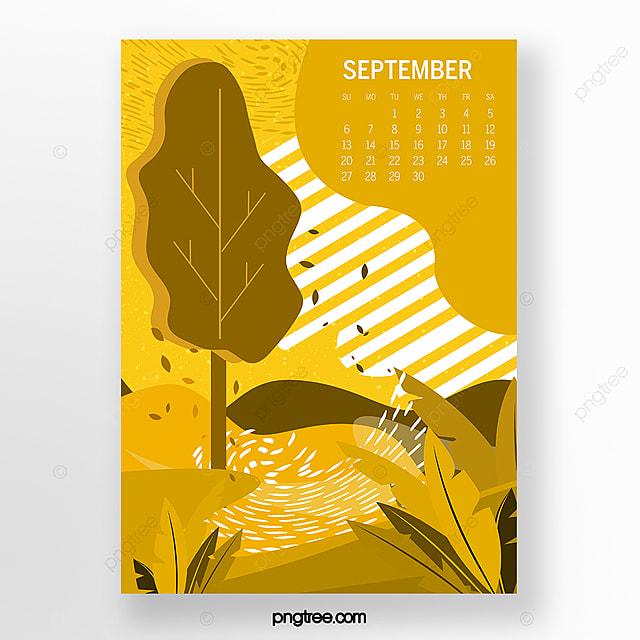september 2020 calendar yellow illustration