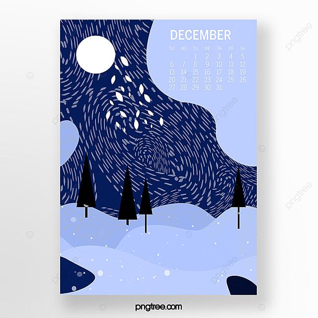 snowy landscape illustration in december 2020