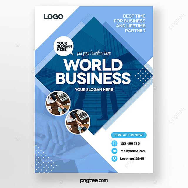 modern minimalistic geometric style blue business brochure