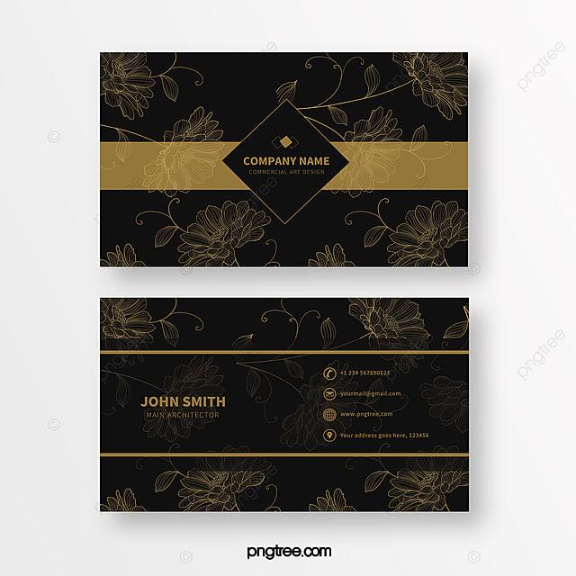 black gold line print texture business card