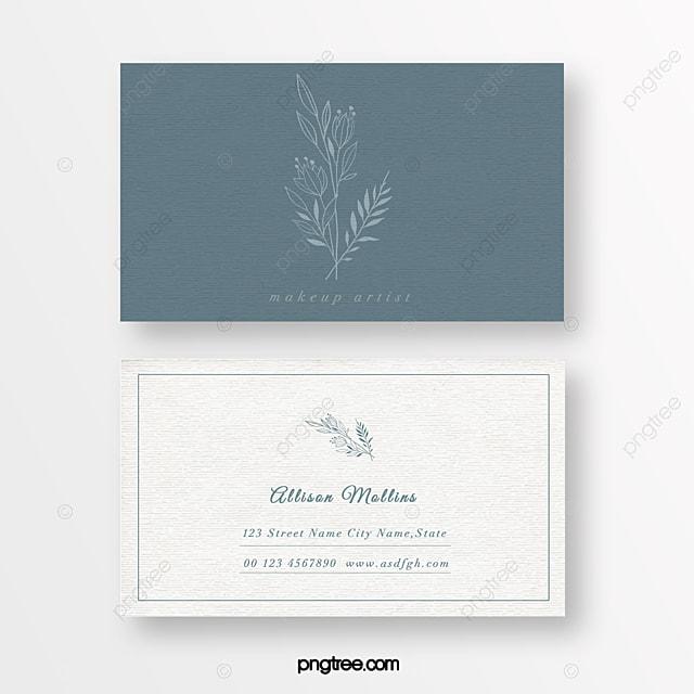 blue minimalist linear flower beauty florist texture business card