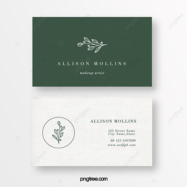 green minimalist linear flower beauty florist texture business card