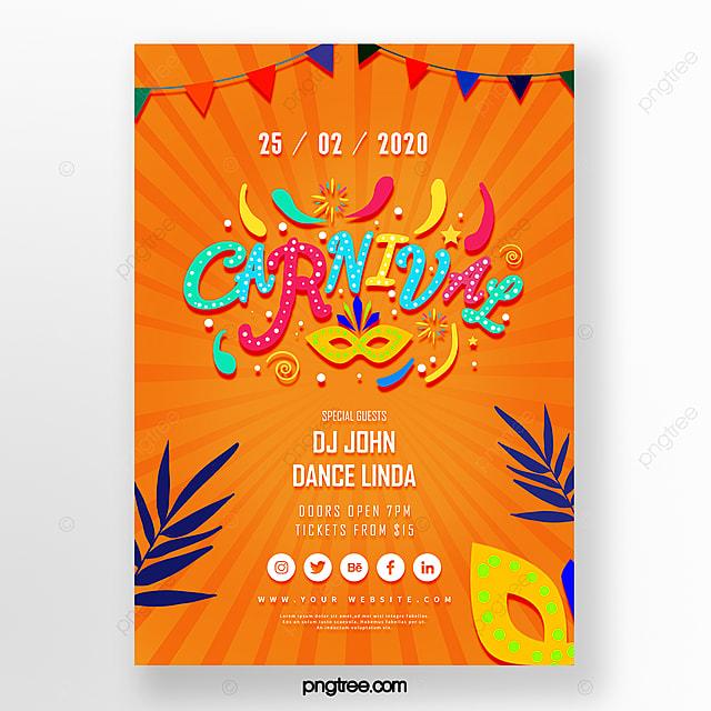 orange joy cartoon carnival festival poster