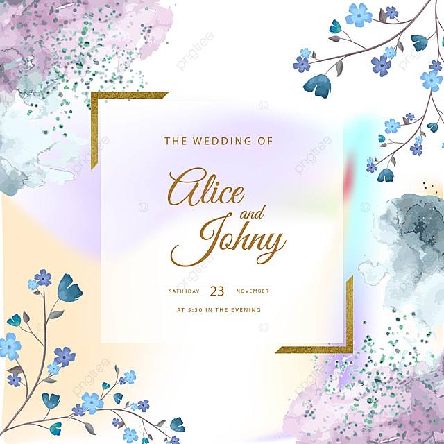 beautiful blue wedding card design template for free
