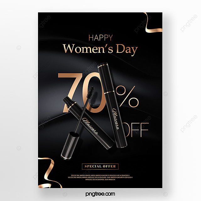 black delicate women s day makeup promotion poster