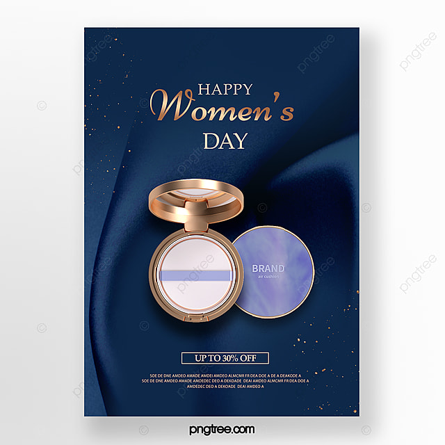 blue silk texture women s day makeup promotion poster