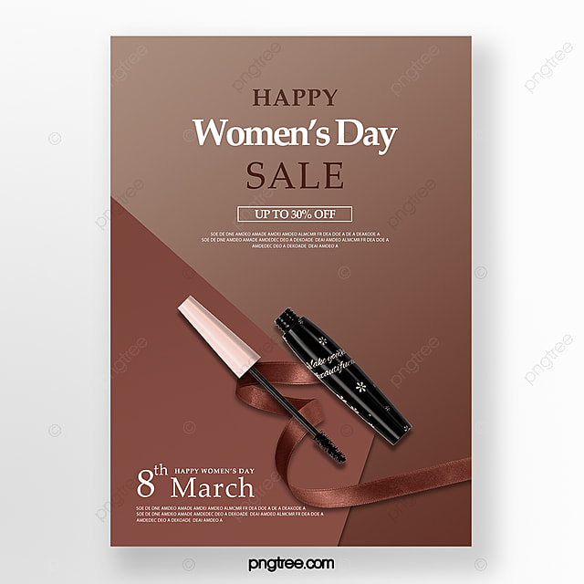 brown delicate women s day makeup promotion poster