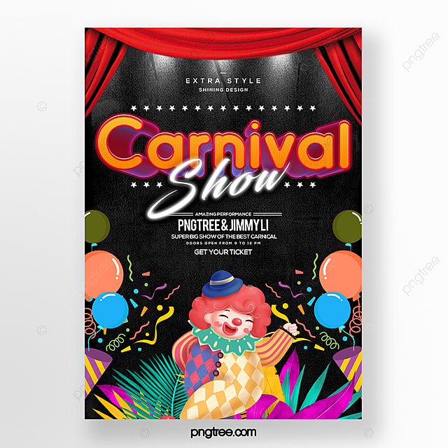 cartoon fashion carnival party carnival theme poster