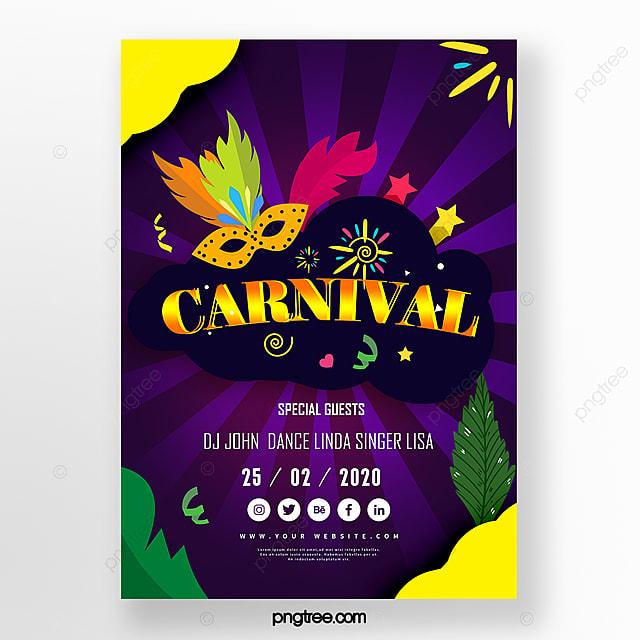 colorful cartoon brazilian carnival festival poster