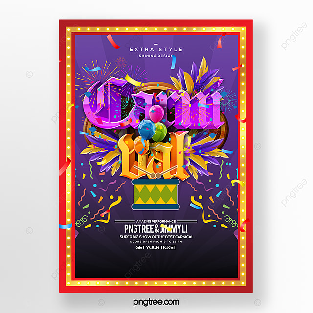 fashion cartoon style carnival party carnival poster