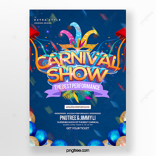 fashion color cartoon style carnival party carnival poster