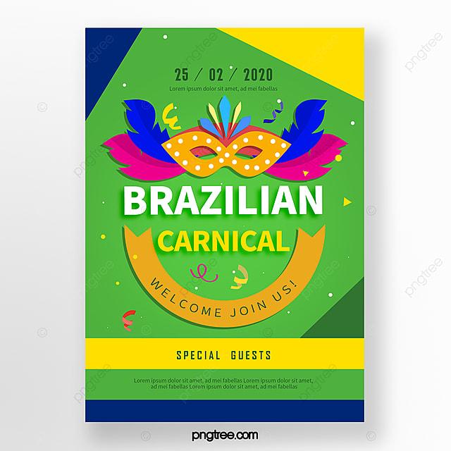 green brazil flag color cartoon carnival festival poster