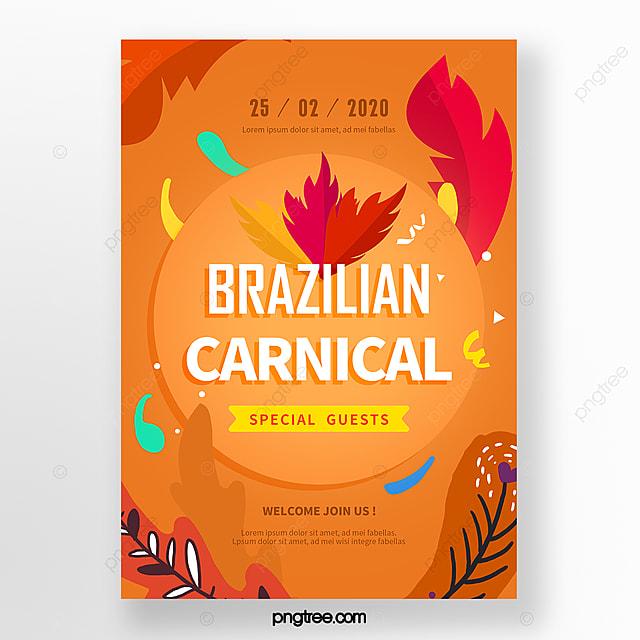 orange hand drawn cartoon carnival festival poster