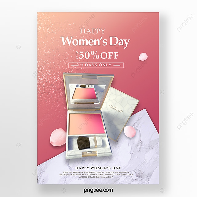 pink marble texture women s day makeup promotion poster