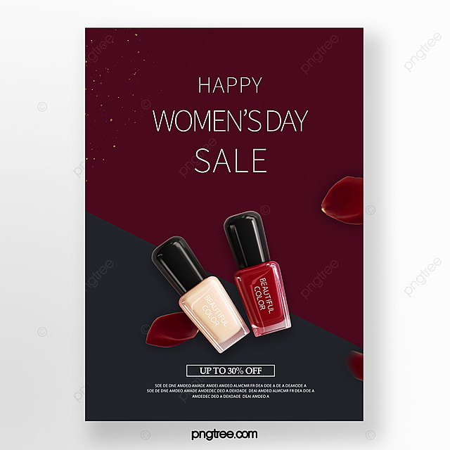 red blue delicate women s day makeup promotion poster