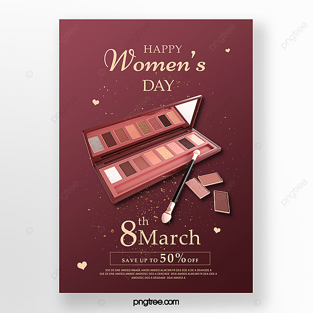 red delicate women s day makeup promotion poster