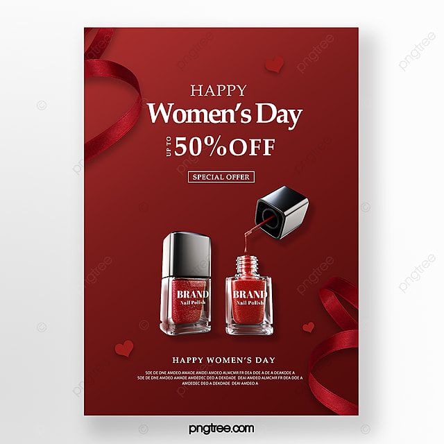 red texture women s day makeup promotion poster