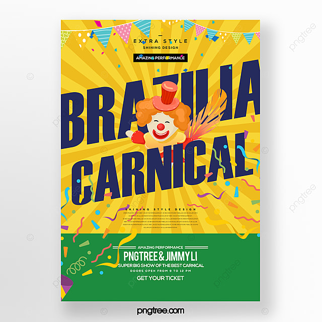 simple fashion color cartoon carnival party carnival poster