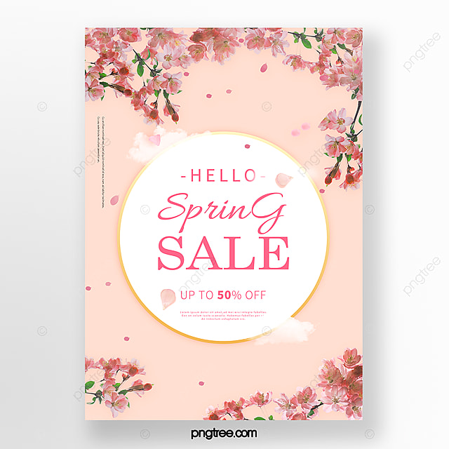 apricot romantic spring cherry blossom promotion poster