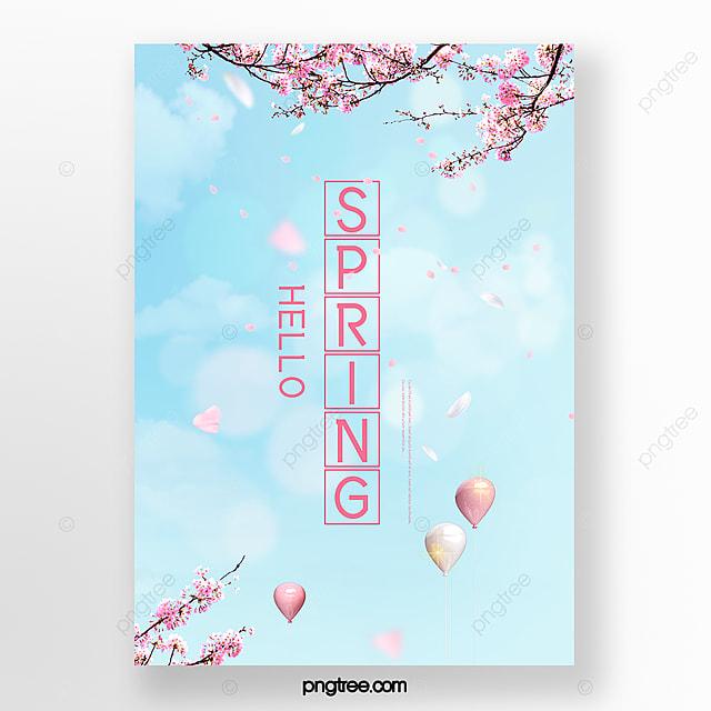 blue sky cherry blossom spring poster