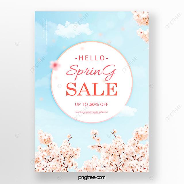 blue sky fresh cherry blossom spring poster
